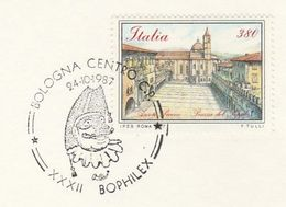 1987 BOLOGNA MASKED PERFORMER EVENT COVER Card Bophilex Italy Theatre Stamps - Theatre