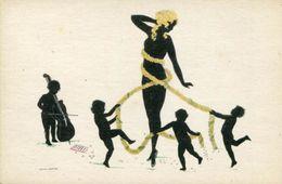 EROTIC COLOR SILHOUETTE Postcard NUDE BEAUTY AND FAIRIES GROSZE - Silhouette - Scissor-type