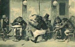 DRESSED MONKEYS ~ CAFE SCENE FINE EARLY EMBOSSED Postcard - Affen