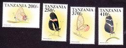 Tanzania, Scott #1784-1787, Mint Hinged, Butterflies, Issued 1999 - Tanzania (1964-...)
