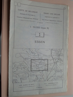 ESSEN ( Nr. 1 ) Anno 1962 - Schaal / Echelle / Scale 1: 50.000 ( Stafkaart : Zie Foto's ) ! - Geographical Maps