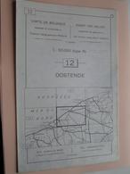 OOSTENDE ( Nr. 12 ) Anno 1962 - Schaal / Echelle / Scale 1: 50.000 ( Stafkaart : Zie Foto's ) ! - Cartes Géographiques