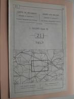 TIELT ( Nr. 21 ) Anno 1962 - Schaal / Echelle / Scale 1: 50.000 ( Stafkaart : Zie Foto's ) ! - Cartes Géographiques