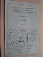 LIEGE ( Nr. 42 ) Anno 1962 - Schaal / Echelle / Scale 1: 50.000 ( Stafkaart : Zie Foto's ) ! - Geographical Maps