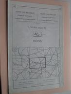 MONS ( Nr. 45 ) Anno 1962 - Schaal / Echelle / Scale 1: 50.000 ( Stafkaart : Zie Foto's ) ! - Cartes Géographiques