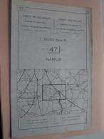 NAMUR ( Nr. 47 ) Anno 1962 - Schaal / Echelle / Scale 1: 50.000 ( Stafkaart : Zie Foto's ) ! - Cartes Géographiques