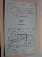 NAMUR ( Nr. 47 ) Anno 1962 - Schaal / Echelle / Scale 1: 50.000 ( Stafkaart : Zie Foto's ) ! - Geographical Maps