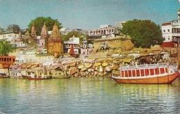 Inde: Ghats, Varanasi (Banaras, Bénarès), Along The River Gange - Carte Non Circulée - Sri Lanka (Ceylon)