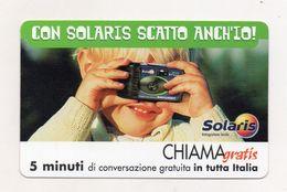 Telecom - Scheda Chiama Gratis - 2001 - SOLARIS - 5 Minuti Di Conversazione Gratuita - NUOVA - (FDC7937) - [2] Sim Cards, Prepaid & Refills