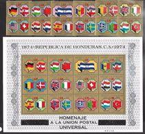 Honduras  1974  Sc#C562-74  UPU Set & Souv Sheet  MNH**  2016 Scott Value  $20.75 - Honduras
