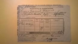 1906 FERROVIE DELLO STATO REGNO RICEVUTA SPEDIZIONE STRADE FERRATE MERIDIONALI GRANDE VELOCITA DESCRIZIONE MERCI - Treni