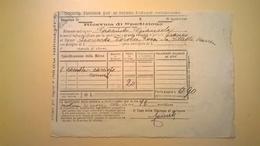 1906 FERROVIE DELLO STATO REGNO RICEVUTA SPEDIZIONE STRADE FERRATE MERIDIONALI GRANDE VELOCITA DESCRIZIONE MERCI - Spoorwegen