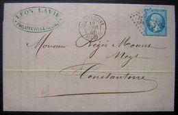 Algérie 1866 CàD Constantine GC 5023 Lettre De Leon Lavie à Philippeville - Postmark Collection (Covers)