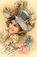 [DC11426] CPA - DONNA CON CAPPELLO E FIORI - PERFETTA - Viaggiata 1900 - Old Postcard - Cartoline