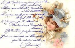 [DC11427] CPA - DONNA CON CAPPELLO E FIORI - PERFETTA - Viaggiata 1901 - Old Postcard - Cartoline