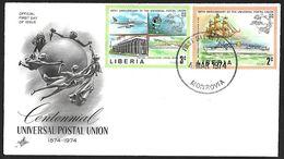 1974 - LIBERIA - FDC + Y&T 633+634 (U.P.U.) + MONROVIA - Liberia