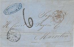 1860 - Lettre De LIVORNO Pour Marseille  - Taxr 6 D  Entrée TOSC. 1 MARSEILLE 1  Rouge - Toscane