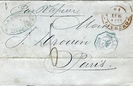 1855 - Lettre De LIVORNO Pour Paris - Taxr 6 D  Entrée Cad  Octog.  TOSC. 1.S.L.  MARSEILLE  Bleu - Tuscany