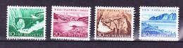 N° 552 à 555 Timbres Avec Fragment De Soie Très Légère Trace De Charnière - Switzerland