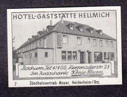 Bochum Hotel Hellmich Etiquette Allumettes Matchbox Label Germany Allemagne - Zündholzschachteletiketten