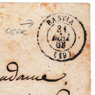 Lettre 1868 Corse Ajaccio Bastia Timbre Napoléon III Empire 20 Centimes - Marcofilie (Brieven)