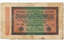 H31 - ALLEMAGNE - 20000 Mark - Reichsbanknote - 1923 - 20000 Mark