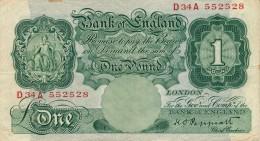 H31 - ROYAUME UNI - Banque D'Angleterre - Billet 1 Pound - 1£ - …-1952 : Before Elizabeth II
