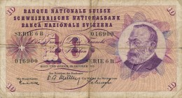 H31 - SUISSE - Billet 10 Francs - 1955 - Switzerland