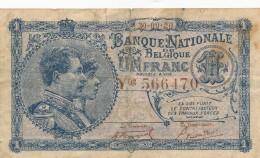 H31 - BELGIQUE - Billet De 1 Franc 1920 - [ 2] 1831-... : Koninkrijk België
