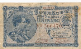 H31 - BELGIQUE - Billet De 1 Franc 1920 - [ 2] 1831-... : Regno Del Belgio