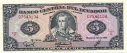 H31 - EQUATEUR - Billet De 5 SUCRES - 1988 - Equateur