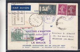 France - Carte Postale De 1937 - Oblit Bleue Railly ...aérien - Exp Vers Mulhouse - Cachet De Paris - Mermoz - France