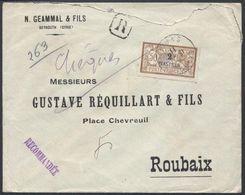 E11 - France Levant P.O. Lebanon Beirut 1911 Registered Cover, GEAMMAL &FILS To Roubaix Franked Levant 2 PIASTRES MERSON - Lebanon