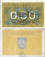 Litauen Pick-Nr: 31b Bankfrisch 1991 0,50 Talonas - Lituanie
