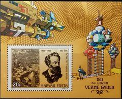 Hungary, 1978, Mi. 3305A (bl. 133A), Sc. C408, SG 3201, Jules Verne, Space, Moon, MNH - Raumfahrt
