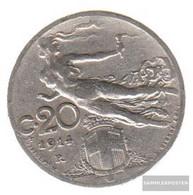 Italy Km-number. : 44 1922 Very Fine Nickel Very Fine 1922 20 Centesimi Head With Weizenähre - 1861-1946 : Kingdom