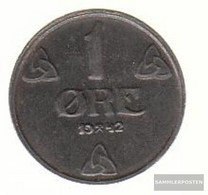 Norway Km-number. : 387 1942 Very Fine Iron Very Fine 1942 1 Öre Crest - Norway