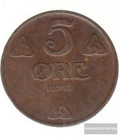 Norway Km-number. : 368 1941 Very Fine Bronze Very Fine 1941 5 Öre Gekröntes Monogram - Norway