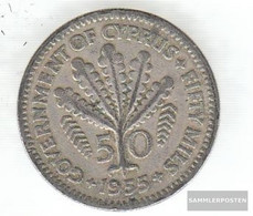 Cyprus Km-number. : 36 1955 Very Fine Copper-Nickel Very Fine 1955 50 Mils Elizabeth II. - Cyprus