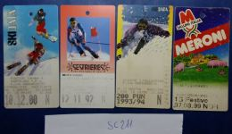 LOTTO 4 BIGLIETTI USATI FUNIVIE SEGGIOVIE SKYPASS (SC211 - Biglietti Di Trasporto