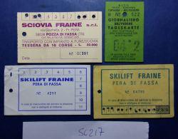 LOTTO 4 BIGLIETTI USATI FUNIVIE SEGGIOVIE SKYPASS (SC217 - Biglietti Di Trasporto