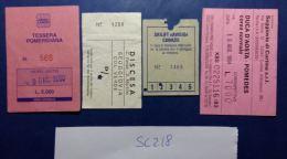 LOTTO 4 BIGLIETTI USATI FUNIVIE SEGGIOVIE SKYPASS (SC218 - Biglietti Di Trasporto