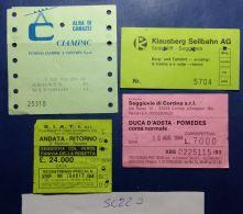 LOTTO 4 BIGLIETTI USATI FUNIVIE SEGGIOVIE SKYPASS (SC220 - Biglietti Di Trasporto