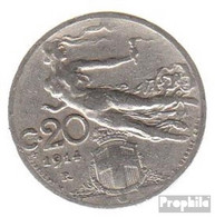 Italien KM-Nr. : 44 1913 Sehr Schön Nickel Sehr Schön 1913 20 Centesimi Kopf Mit Weizenähre - 1900-1946 : Victor Emmanuel III & Umberto II