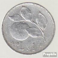 Italien KM-Nr. : 87 1949 Sehr Schön Aluminium Sehr Schön 1949 1 Lira Orangenzweig - 1861-1946: Königreich