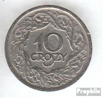 Polen KM-Nr. : 11 1923 Sehr Schön Nickel Sehr Schön 1923 10 Groszy Gekrönter Adler - Polen
