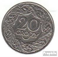 Polen KM-Nr. : 12 1923 Sehr Schön Nickel Sehr Schön 1923 20 Groszy Gekrönter Adler - Polen