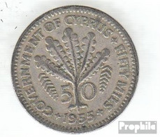 Zypern KM-Nr. : 36 1955 Sehr Schön Kupfer-Nickel Sehr Schön 1955 50 Mils Elizabeth II. - Zypern