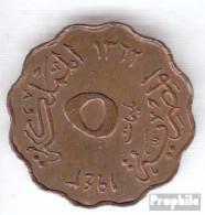 Ägypten KM-Nr. : 360 1943 Sehr Schön Bronze Sehr Schön 1943 5 Milliemes Farouk - Aegypten