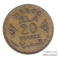 Marokko KM-Nr. : 50 1371 Sehr Schön Aluminium-Bronze Sehr Schön 1371 20 Francs Stern - Marokko